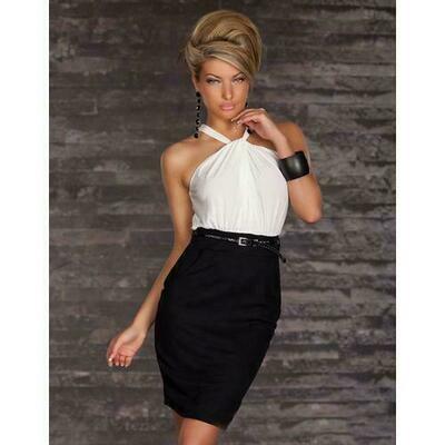 White Dizzying Lavender Ruched Halterneck Cocktail Fashion Dress
