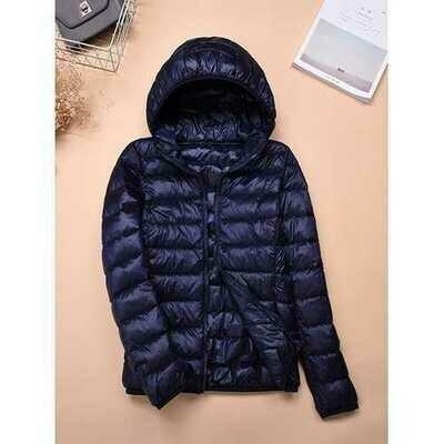 Casual Women Zip Up Hooded Jacket