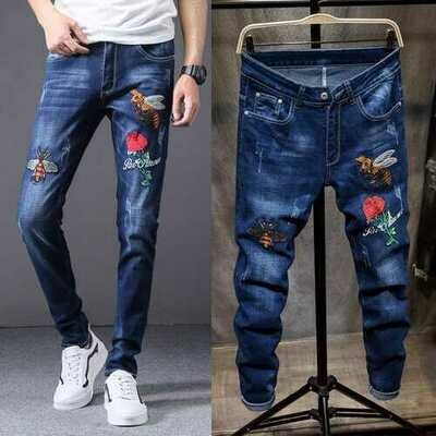 Personalized Embroidered Jeans Men's Slim Feet Fashion Trend New European And American Creative Embroidered Youth Men's Pants