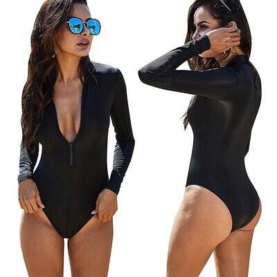 Long Sleeve One Piece Swimsuit Woman Swimwear Zipper Front Black Bathing Suit