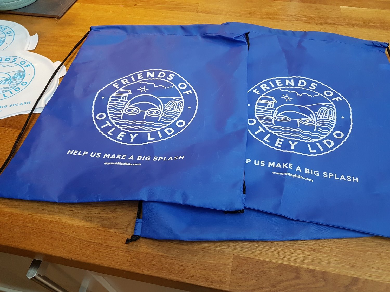 Blue 'Otley Lido' Drawstring Swim / Kit Bag