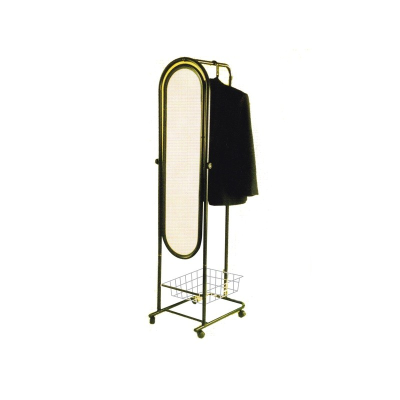 Mirror stand with clothes hanger