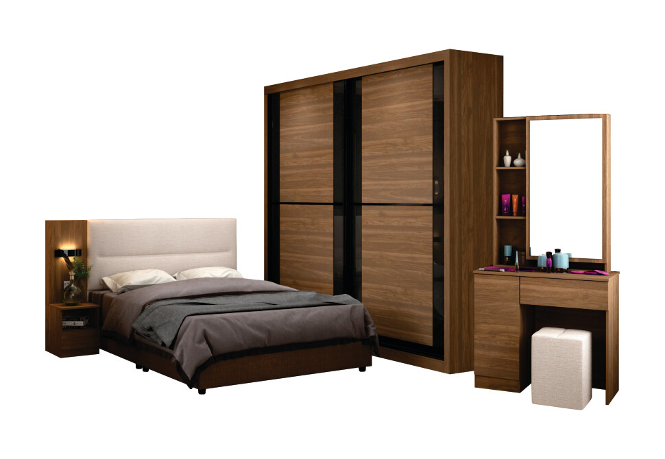 Bedroom Set with wardrobe 8'x8' and queen/king size divan