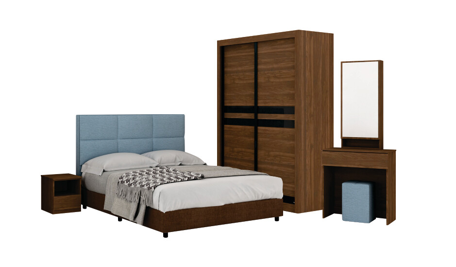Bedroom Set with 4' wardrobe and queen size divan