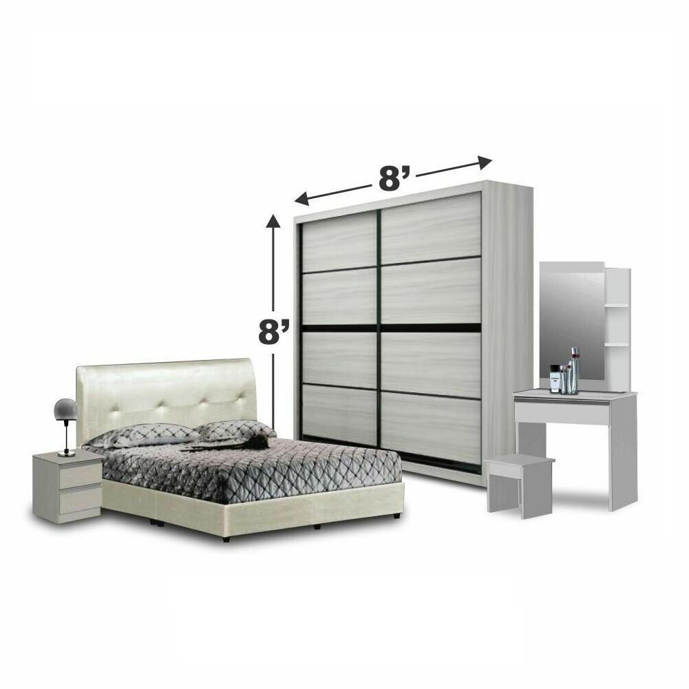 Bedroom Set with wardrobe 8'x8' and queen size divan