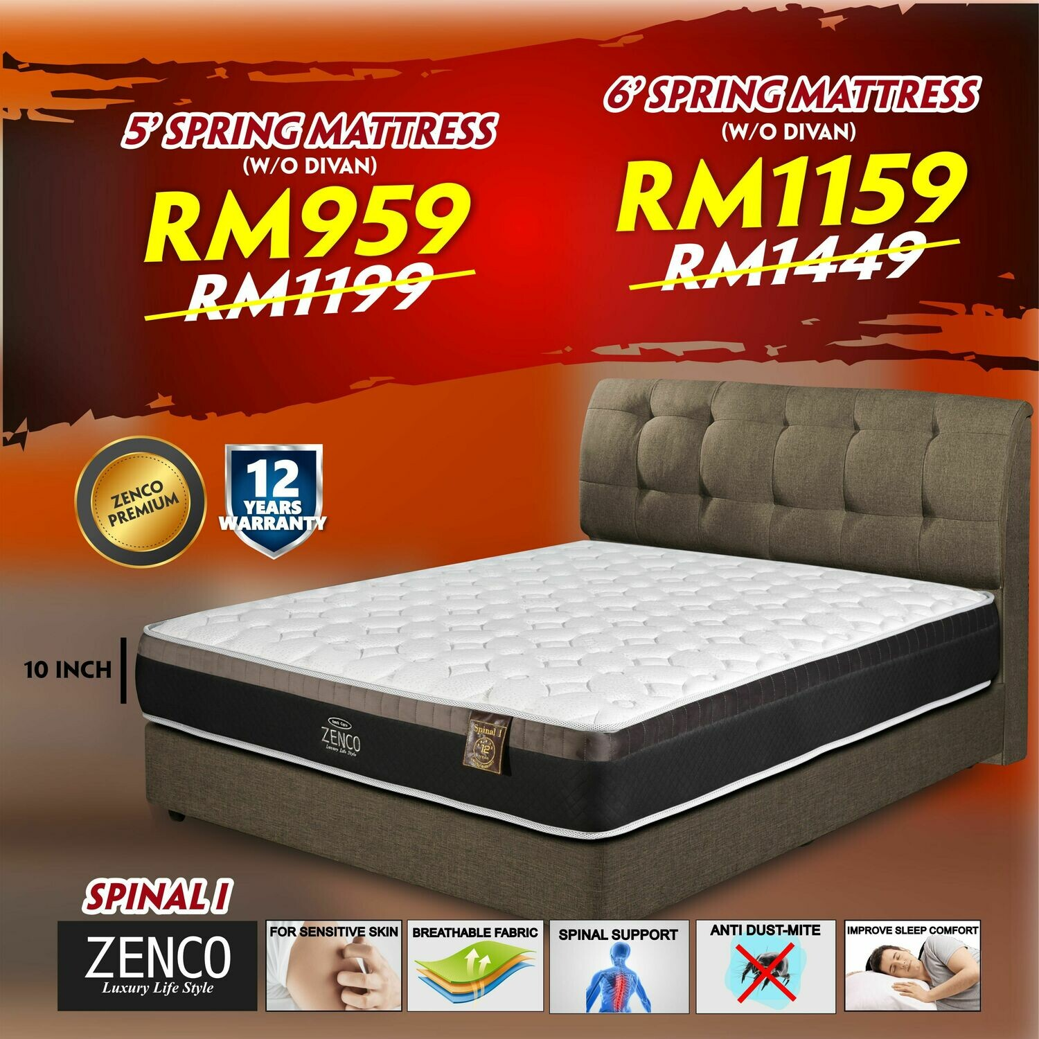 """[FREE DELIVERY] Zenco 10"""" Spring Mattress - Queen/King"""