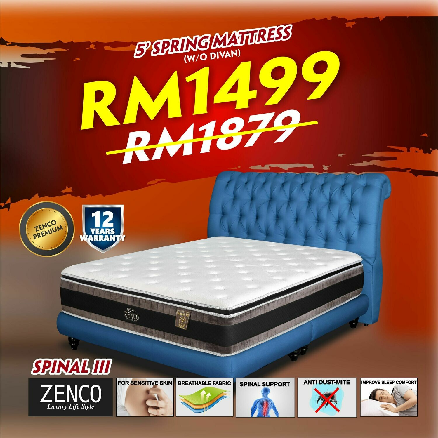 "[FREE DELIVERY] Zenco 13"" Spring Mattress - Queen"
