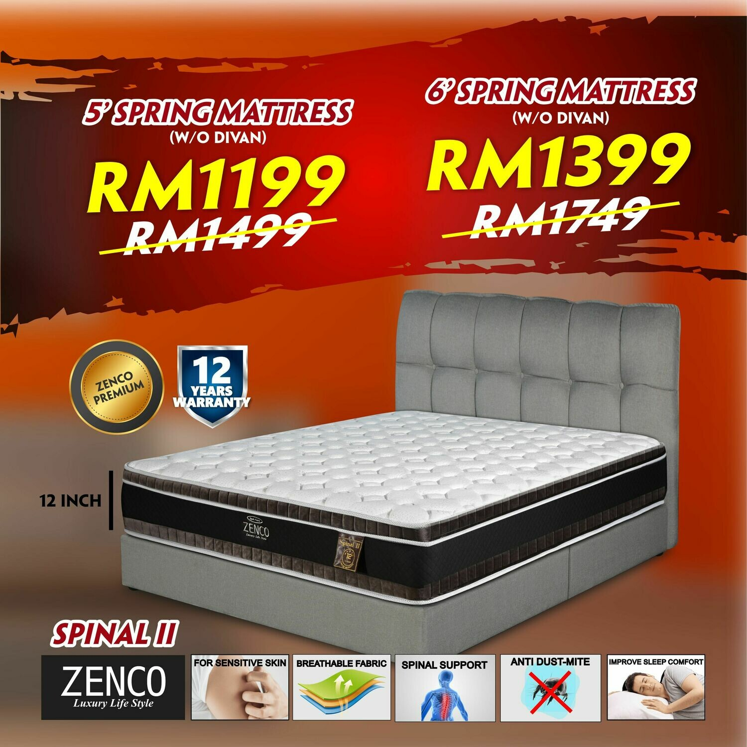 """[FREE DELIVERY] Zenco 12"""" Spring Mattress - Queen/King"""