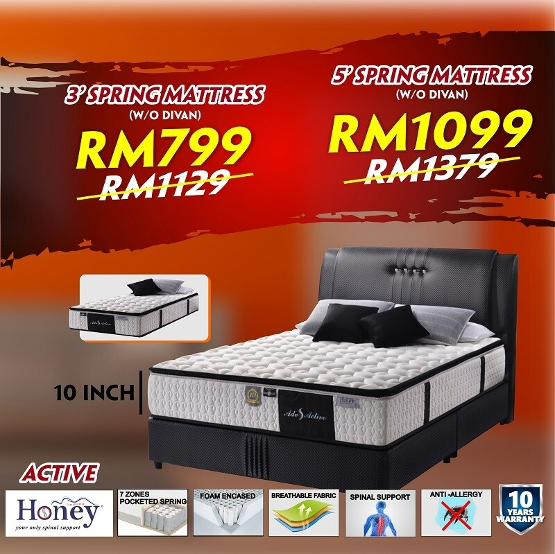 [FREE DELIVERY] Honey ADV ACTIVE Spring Mattress  - Single/Queen