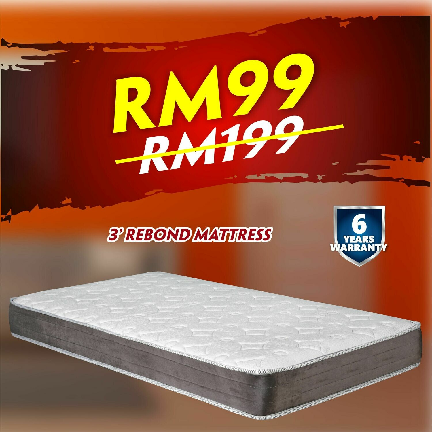 [FREE DELIVERY] 3ft X 4 inch Rebond Mattress- Single Size