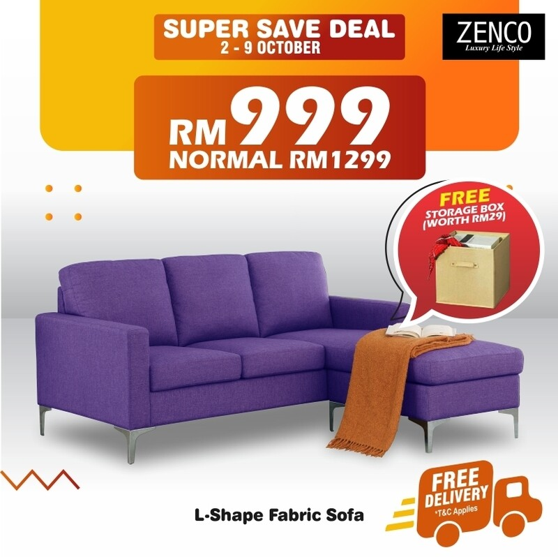[FREE DELIVERY] L-Shape Fabric Sofa