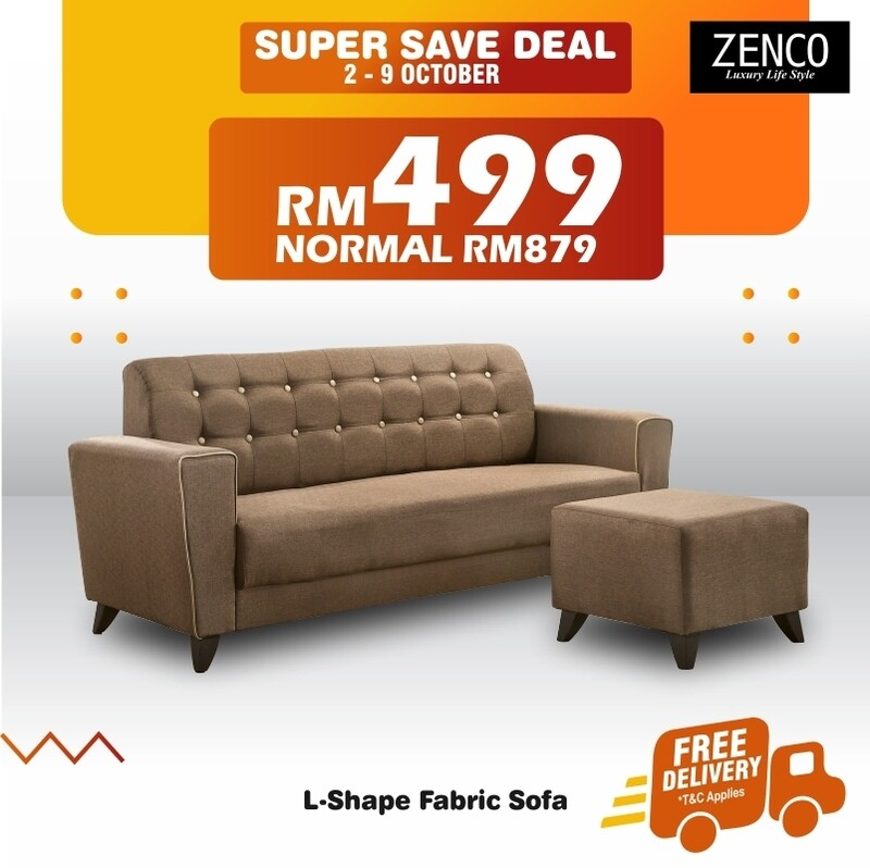 [FREE DELIVERY] Fabric Sofa with Stool