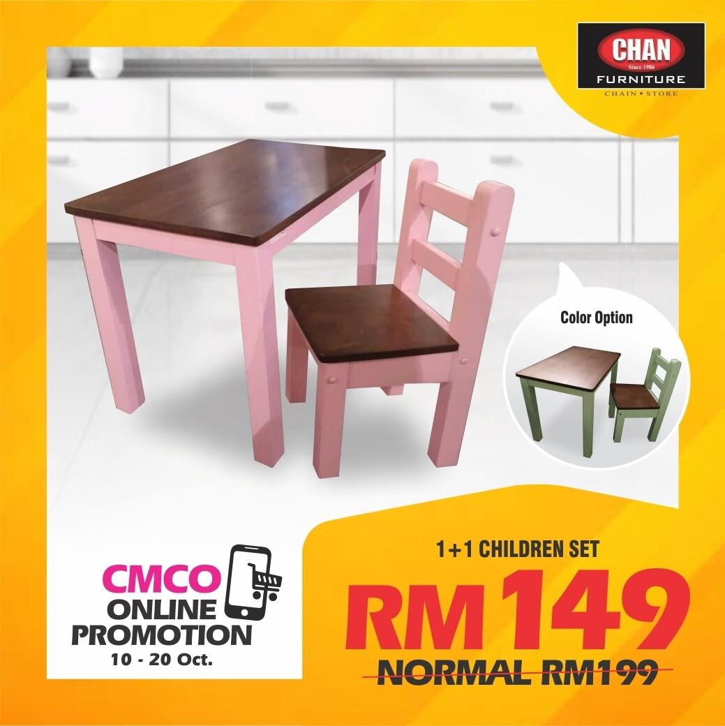 [CMCO ONLINE PROMO] Children Study Table & Chair- Green