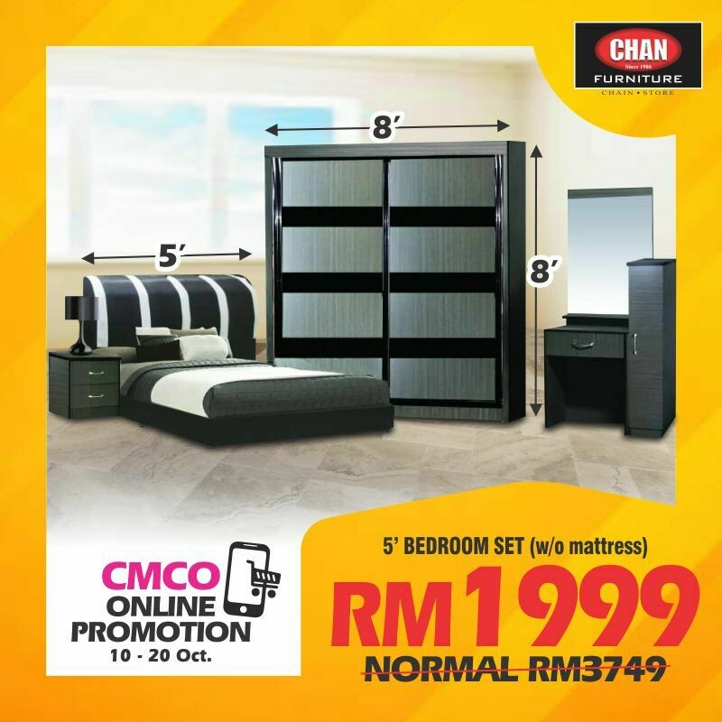 [CMCO ONLINE PROMO] Bedroom Set (Queen Bed frame + Side Table + Wardrobe + Dressing table)