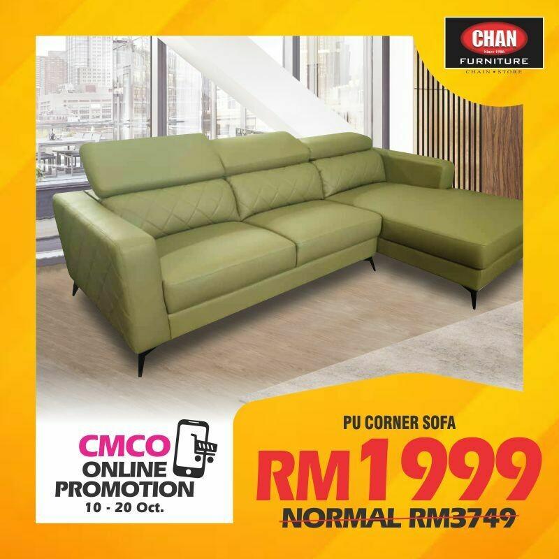 [CMCO ONLINE PROMO] PU Leather L-shape Sofa