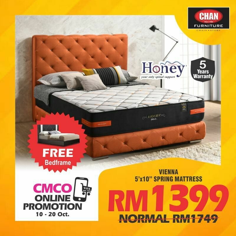 [CMCO ONLINE PROMO] [FREE BED FRAME] HONEY Cafe Series | Vienna 10 inch Mattress - Queen Size