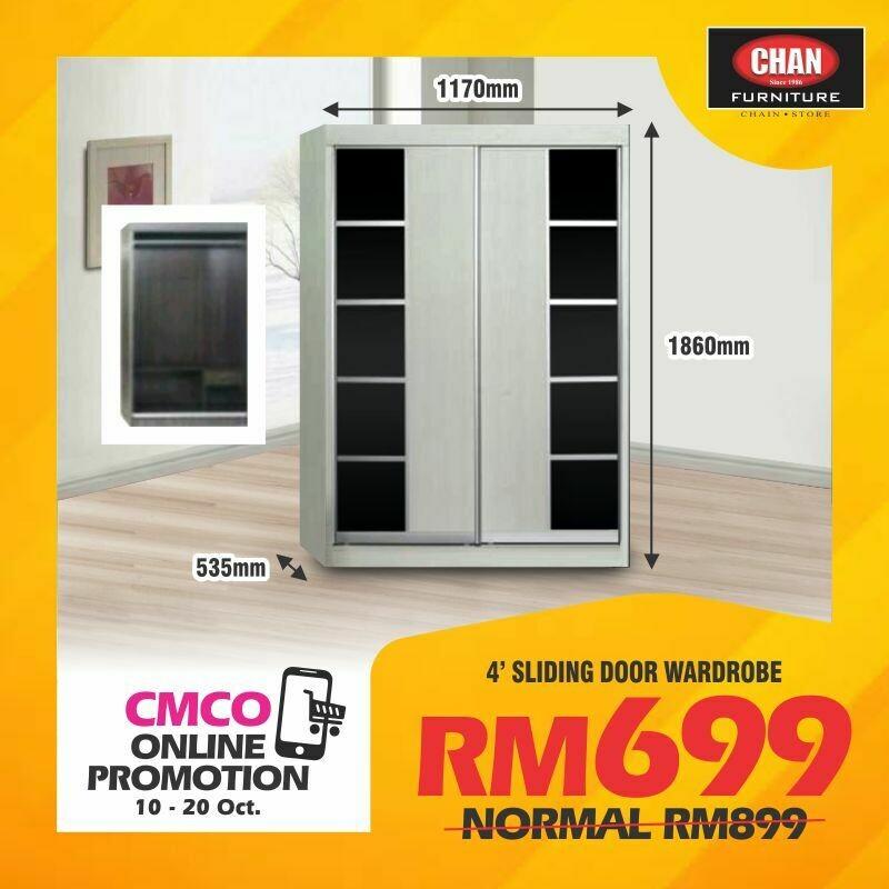 [CMCO ONLINE PROMO] 4ft Sliding Door Wardrobe