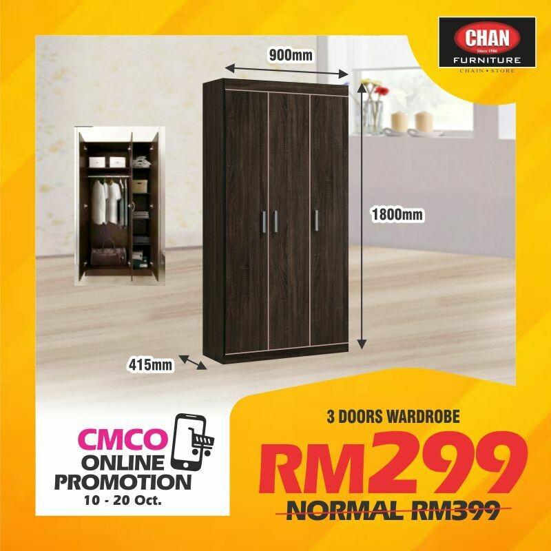 [CMCO ONLINE PROMO] 3 Doors Wardrobe