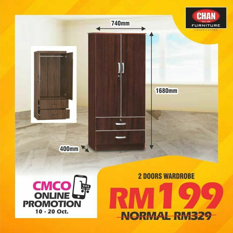 [CMCO ONLINE PROMO] 2 Doors Wardrobe