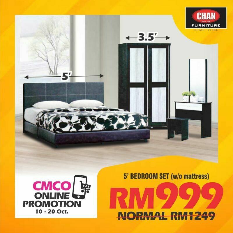 [CMCO ONLINE PROMO] Bedroom Set (Queen Bed frame + Side Table + 3.5ft Wardrobe + Dressing table)