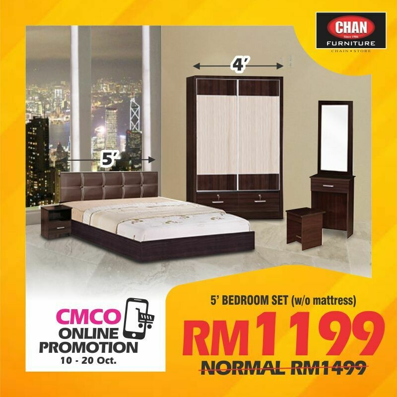 [CMCO ONLINE PROMO] Bedroom Set (Queen Bed frame + Side Table + 4ft Wardrobe + Dressing table)