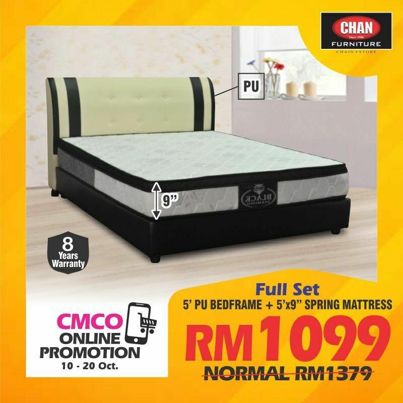 [CMCO ONLINE PROMO] Queen Size PU Bedframe + 9 inch Queen Spring Mattress
