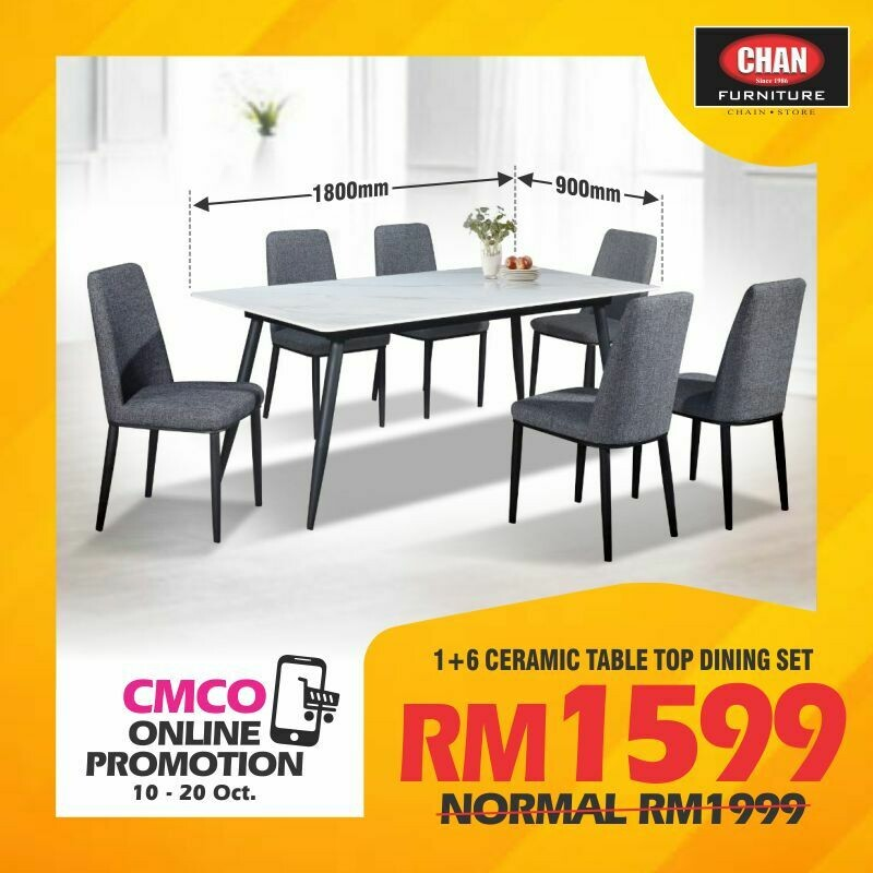 [CMCO PROMOTION] 1+6 CERAMIC TABLE TOP DINING SET