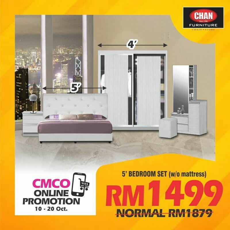 [CMCO ONLINE PROMO] Bedroom Set (Queen Bed frame + Side Table + 4ft Wardrobe + Dressing table)