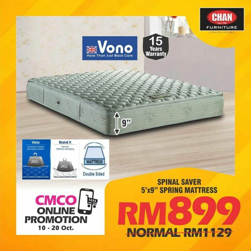 [CMCO ONLINE PROMO] VONO 5ft X9 inch Spinal Saver Mattress - Queen
