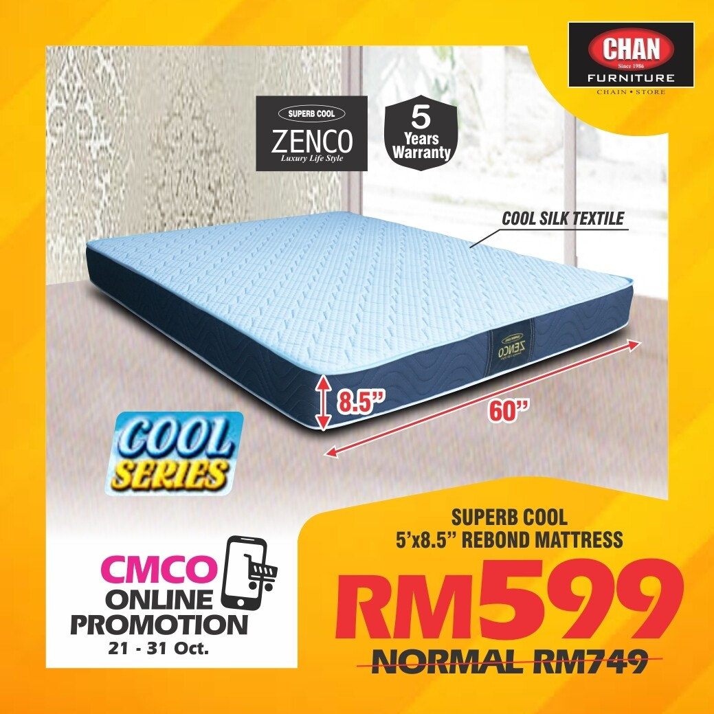 [CMCO ONLINE PROMO] ZENCO Superb Cool 5ft x 8.5 inch Rebond Mattress - Queen