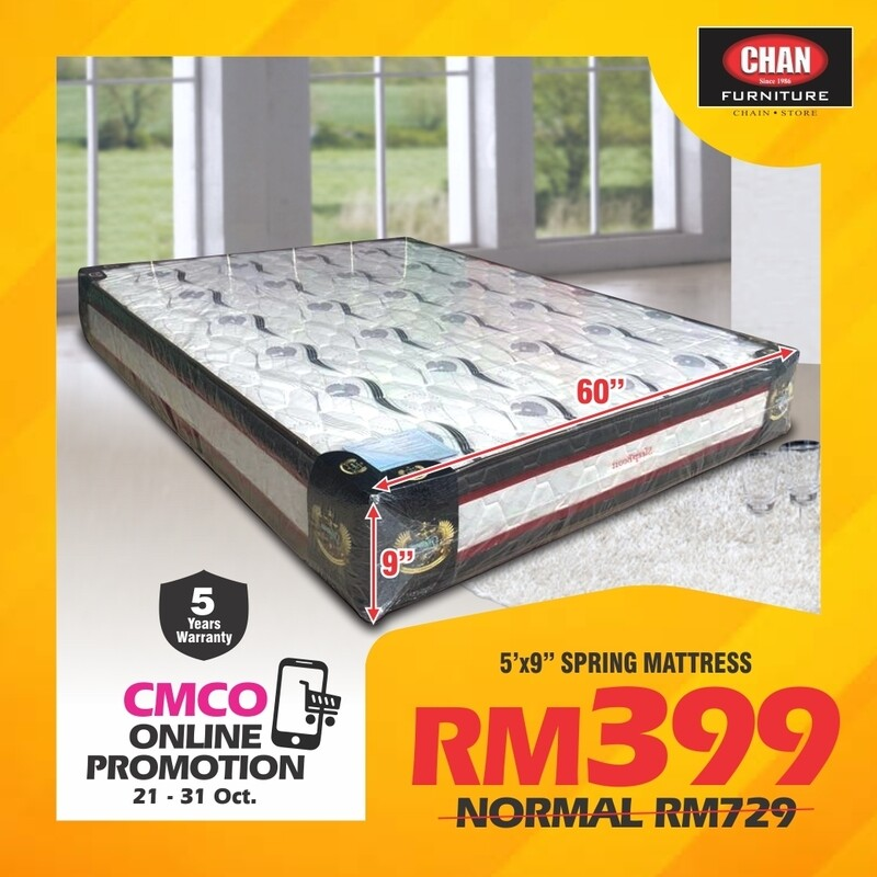 [CMCO ONLINE PROMO] 5ft x 9inch  Spring Mattress