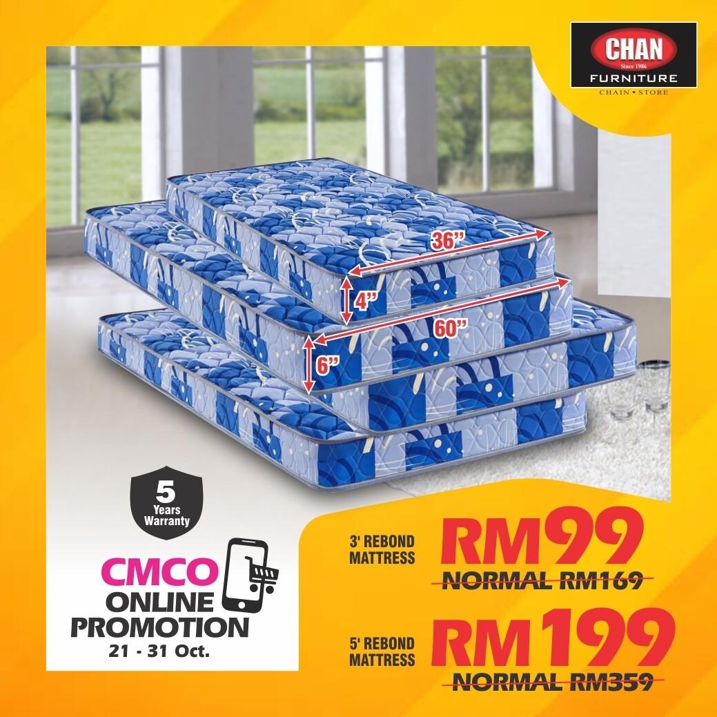 [CMCO ONLINE PROMO] 3ft x 4 inch Rebond Single Mattress/5ft x 6 inch Rebond Queen Mattress
