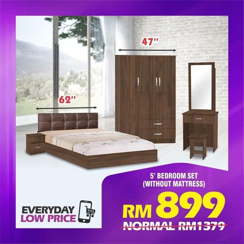 Bedroom Set (Queen Bed frame + Side Table + 4ft Wardrobe + Dressing table)