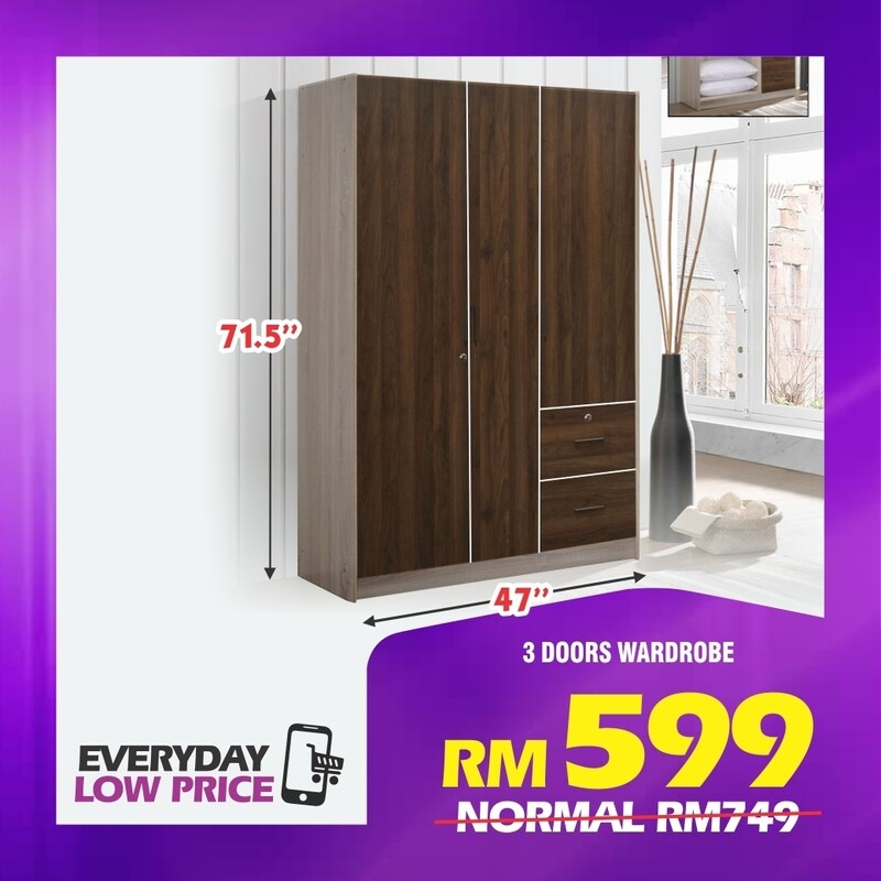 3 Doors Wardrobe with 2 Drawers