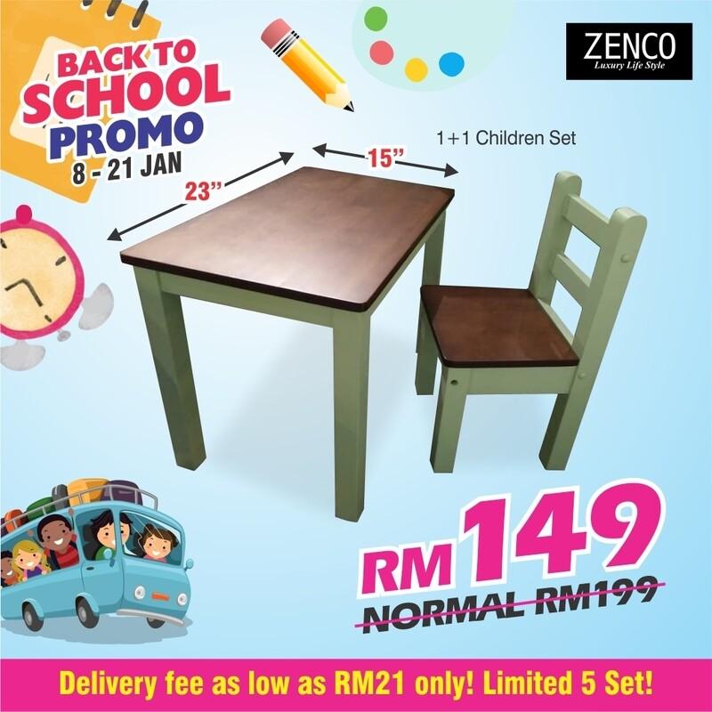 Children Study Table & Chair- Green