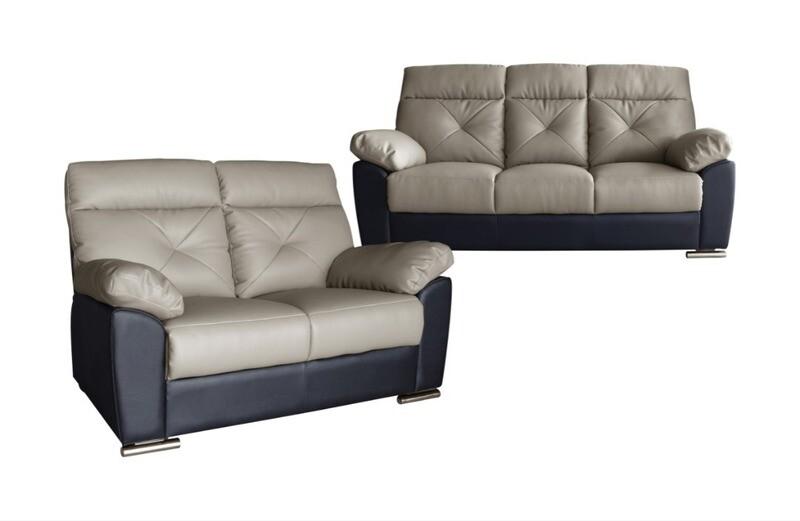 2+3 Seater Semi Leather Sofa Set