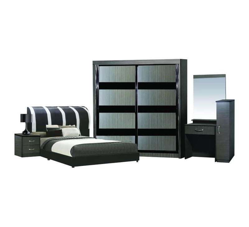 5ft Bedroom Set (8ft Sliding Wardrobe + Queen size Bed frame + Dressing Table + Side table)