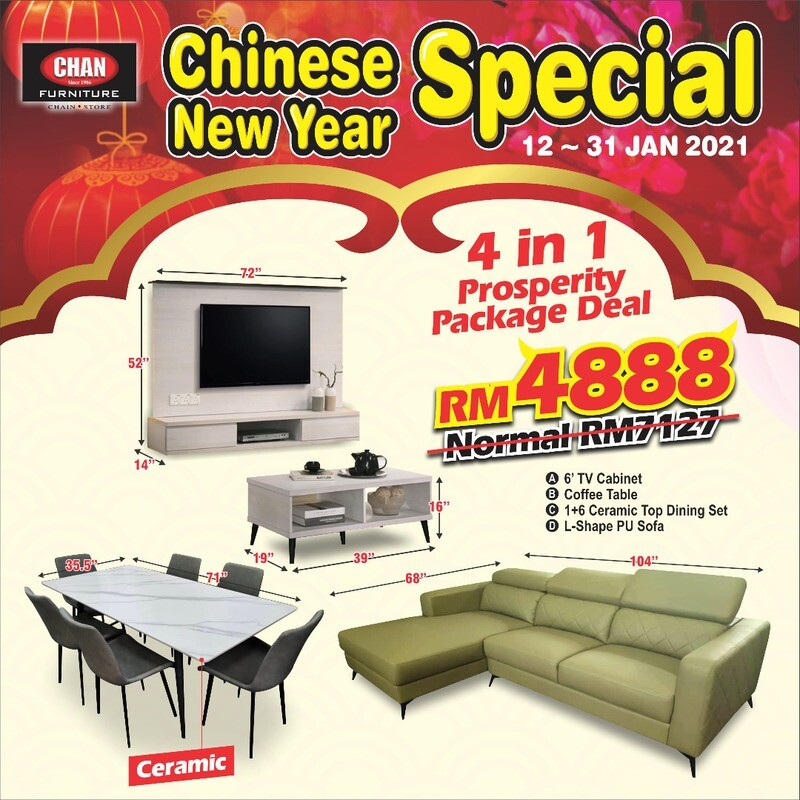 [4 IN 1] 1+6 Ceramic Top Dining Set + 6ftTv Cabinet + Coffee Table + L-Shape PU Sofa