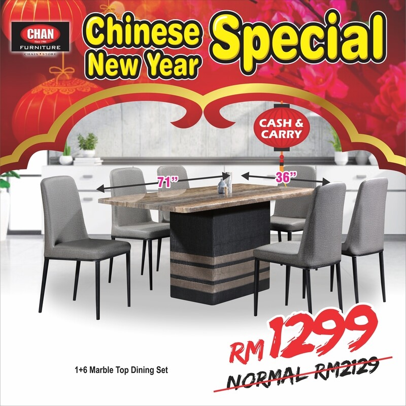 [LIMITED 5 UNIT ONLY] 1+6 Marble Dining Set