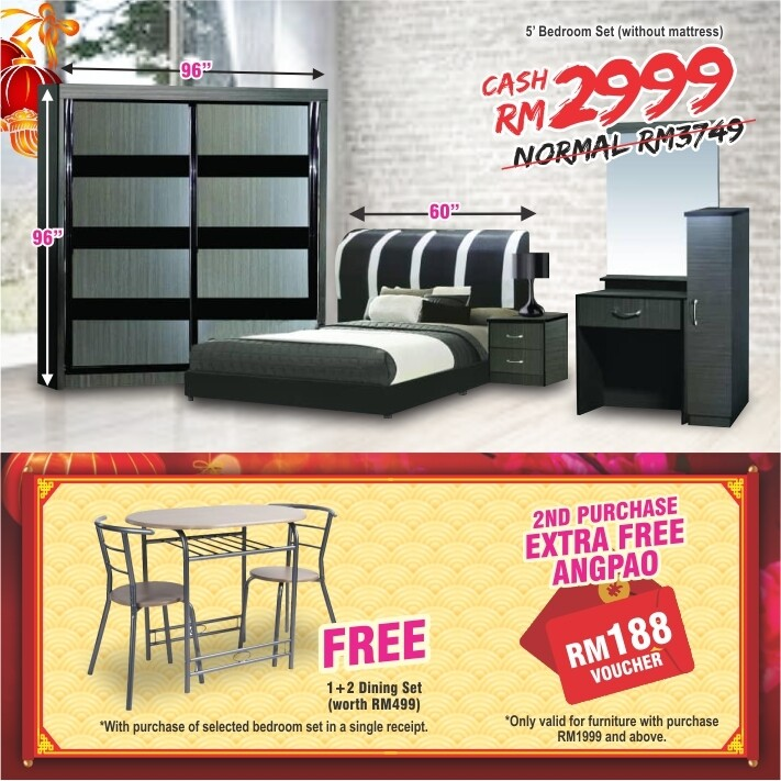 [FREE GIFT + ANGPAO] 5ft Bedroom Set (8 ft x 8 ft Sliding Wardrobe + Queen size Bed frame + Dressing Table + Side table)