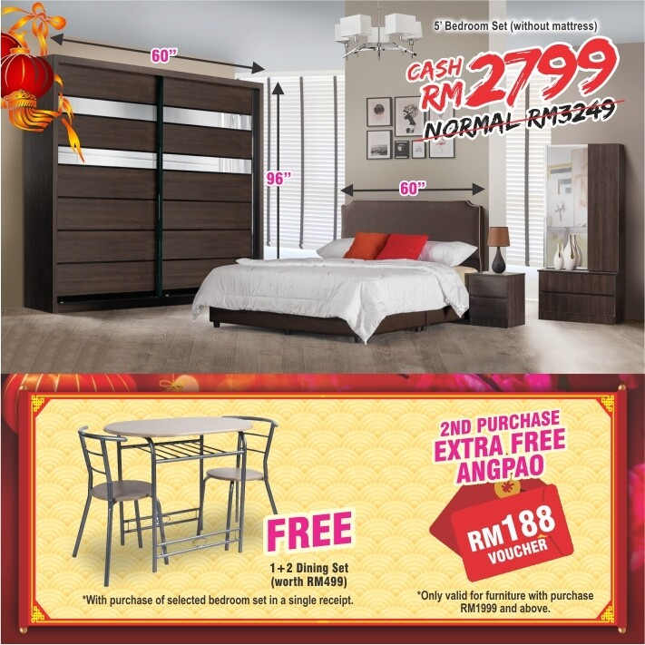[FREE GIFT + ANGPAO] Bedroom Set (5ft x 8ft Sliding Wardrobe + Queen size Bed frame + Dressing Table + Side table)