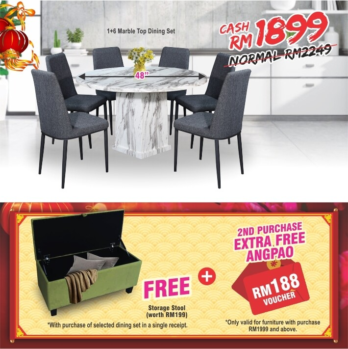 [FREE GIFT+ANGPAO] 1+6 Marble Top Dining Set