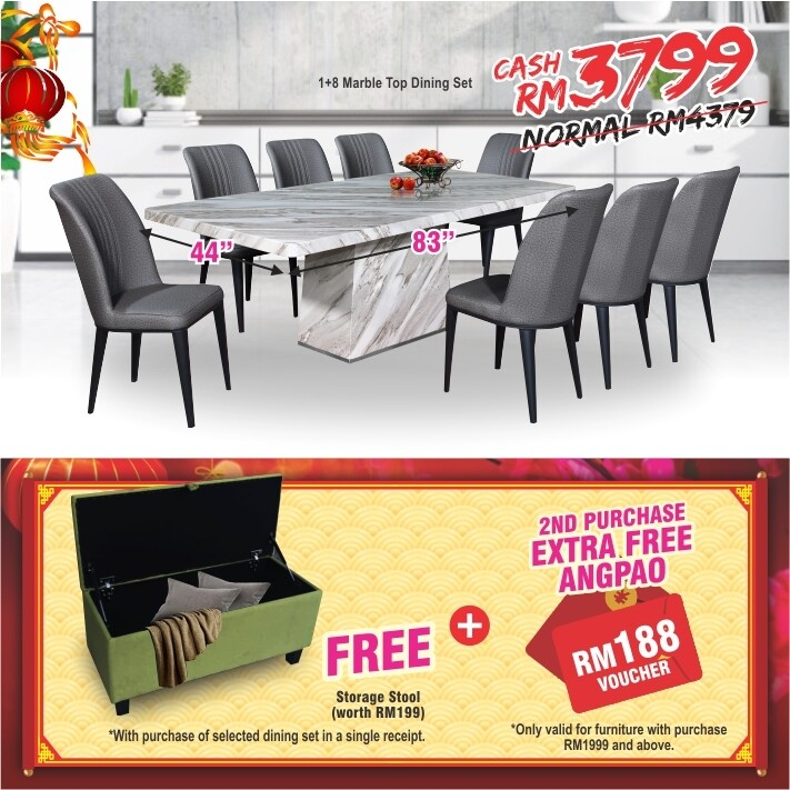 [FREE GIFT + ANGPAO] 1+8 Marble Top Dining Set