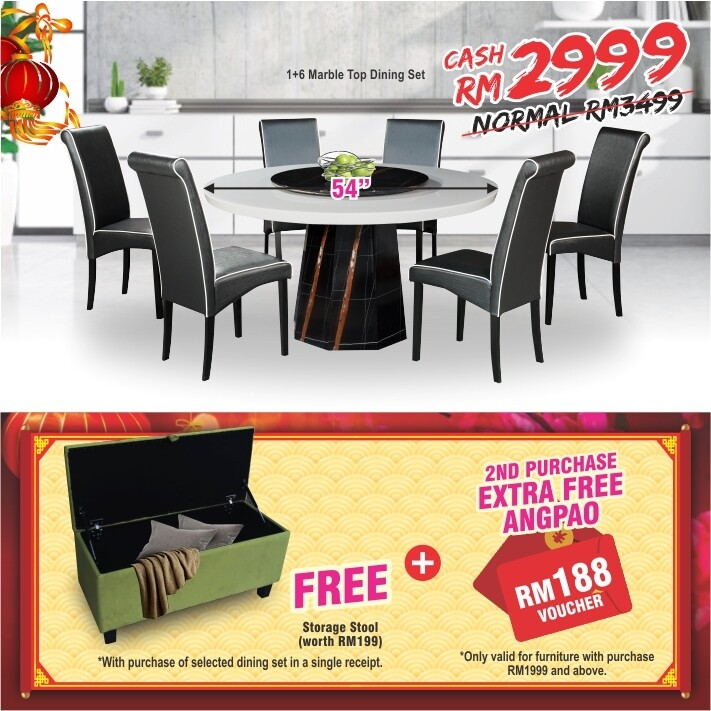 [FREE GIFT + ANGPAO] 1+6 Marble Top Dining Set