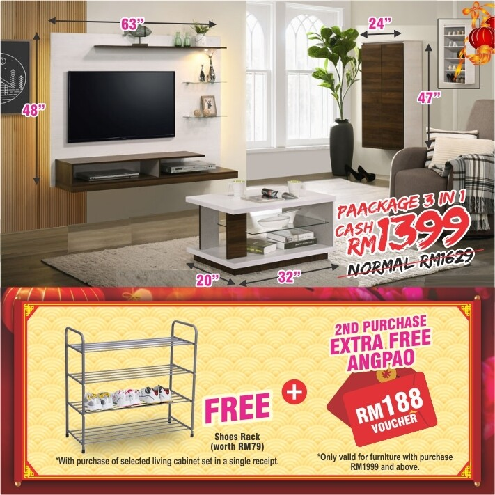 [FREE GIFT + ANGPAO] PACKAGE 3 IN 1 (Wall Mounted TV Cabinet + Shoe Rack + Coffee Table)