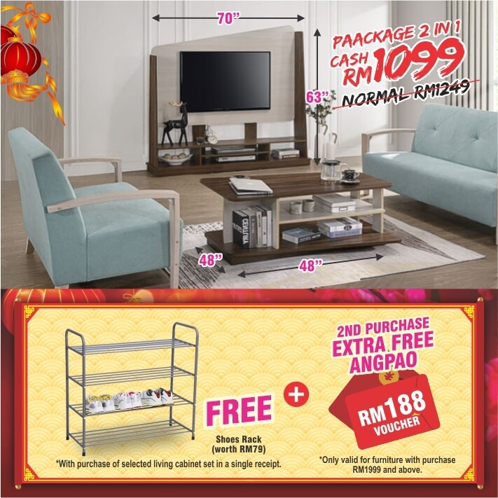 [FREE GIFT + ANGPAO] PACKAGE 2 IN 1 (Wall Mounted TV Cabinet + Coffee Table)