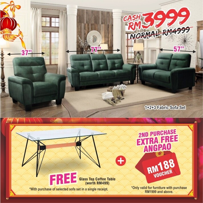 [FREE GIFT + ANGPAO] 1 + 2 + 3  Fabric Sofa Set