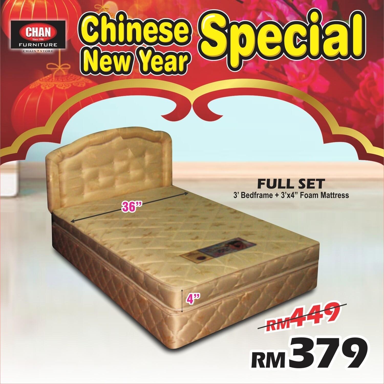 Full Set (Single Bedframe + 3inch X 4inch Foam Mattress)