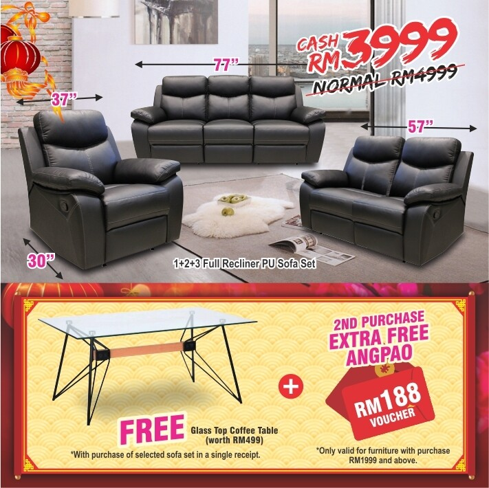 [FREE GIFT + ANGPAO] 1+2+3 Full Recliner PU Sofa Set
