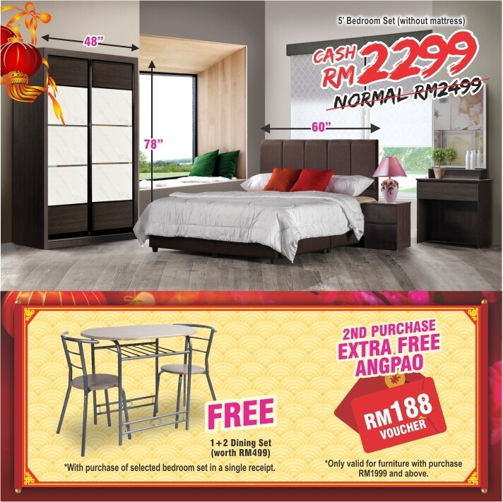 [FREE GIFT + ANGPAO] 5ft Bedroom Set (4ft x 6ft Sliding Wardrobe + Queen size Bed frame + Dressing Table + Side table)